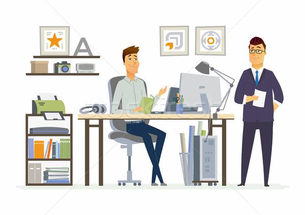 Partner Sitzung modernen Vektor Karikatur Business Stock foto © Decorwithme