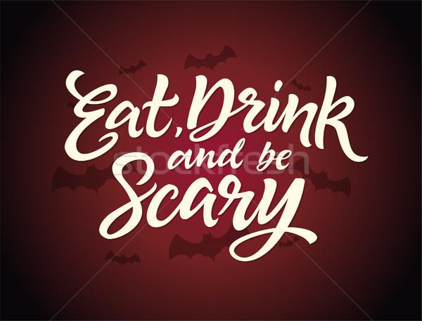 食べる ドリンク 怖い ハロウィン カード 書道 ストックフォト © Decorwithme