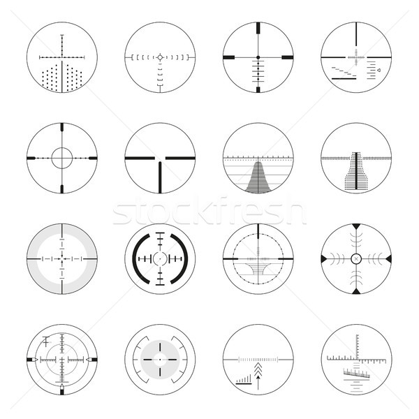 Set of sniper sights - modern vector realistic isolated clip art Stock photo © Decorwithme