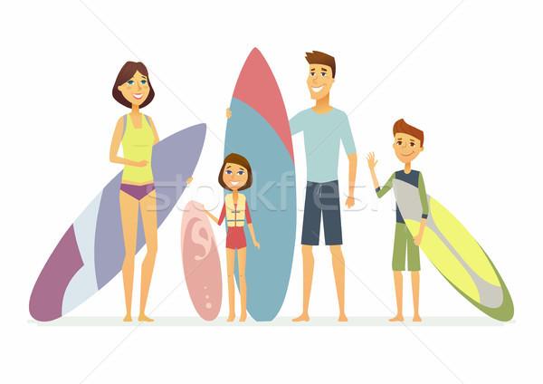 Család szörfözik rajzolt emberek betűk izolált illusztráció Stock fotó © Decorwithme