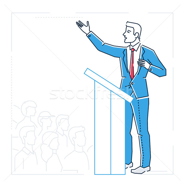 Businessman speaking from a platform - line design style isolated illustration Stock photo © Decorwithme