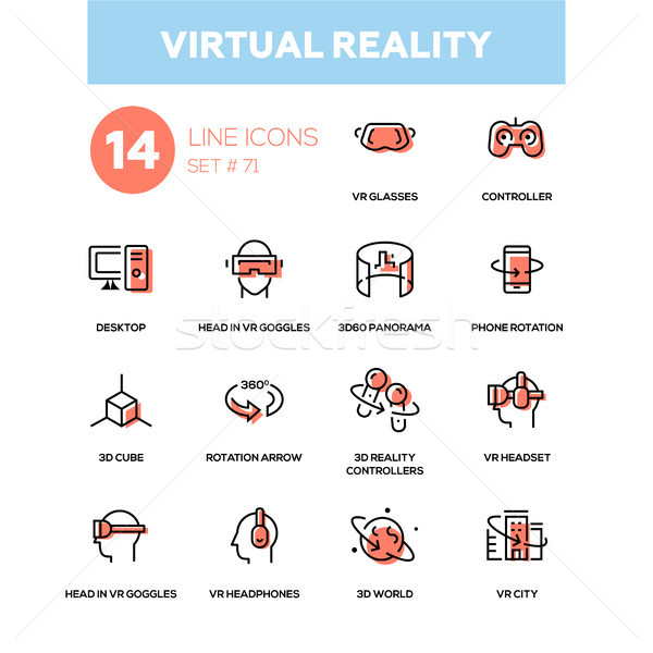 0ae81c6137a Virtual reality - line design icons set vector illustration © Ilia ...