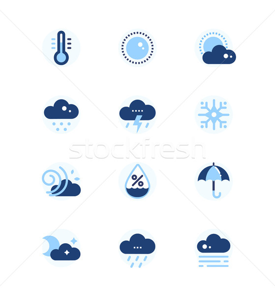 Weather types symbols - set of flat design style icons Stock photo © Decorwithme