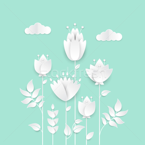 Papier gesneden bloemen moderne vector kleurrijk Stockfoto © Decorwithme