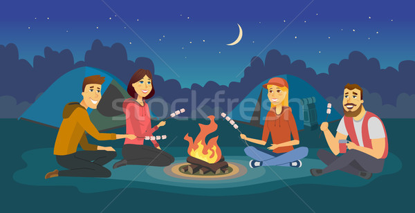 Friends on a camp - cartoon people character illustration Stock photo © Decorwithme