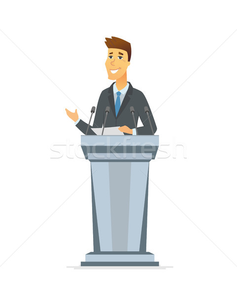 Young politician - cartoon people character isolated illustration Stock photo © Decorwithme
