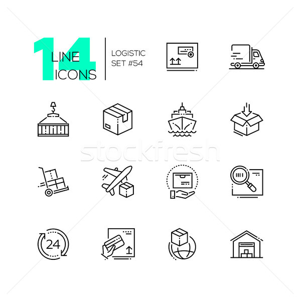 Logistics - modern thin line design icons set Stock photo © Decorwithme