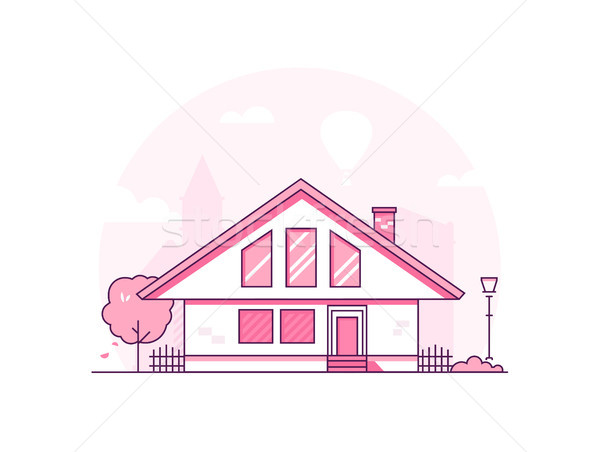 Townhouse - modern thin line design style vector illustration Stock photo © Decorwithme