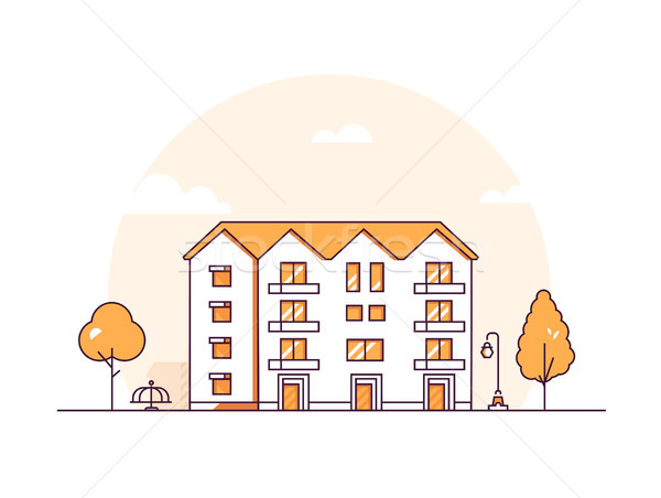 Apartment house - modern thin line design style vector illustration Stock photo © Decorwithme