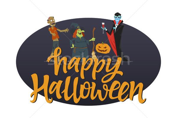 Boldog halloween poszter modern rajzfilmfigura illusztráció Stock fotó © Decorwithme