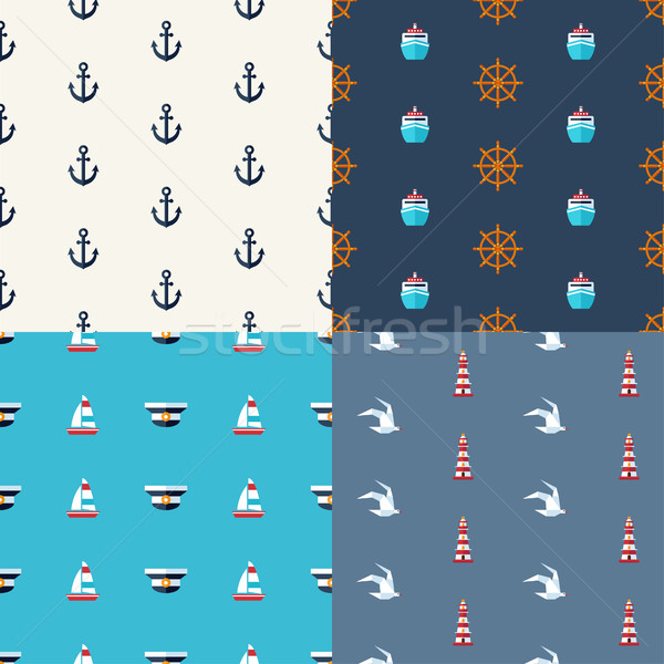 Illustrations of vintage flat design modern nautical, marine pat Stock photo © Decorwithme