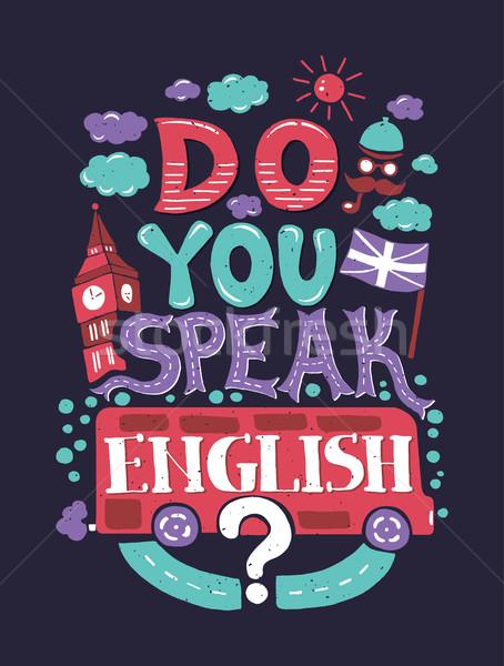 Modern  flat design hipster illustration with phrase Do you speak English Stock photo © Decorwithme