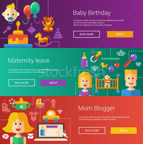 Conjunto bebê maternidade moderno ilustrações banners Foto stock © Decorwithme