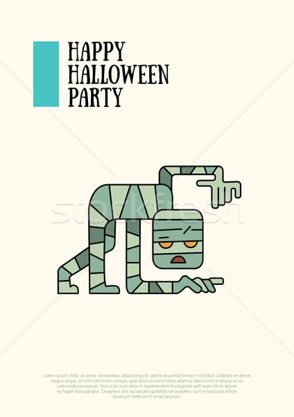 Illustratie halloween lijn ontwerp moderne poster Stockfoto © Decorwithme