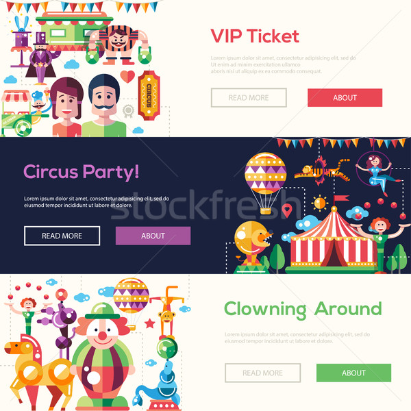 Flat design circus and carnival banners, headers set Stock photo © Decorwithme