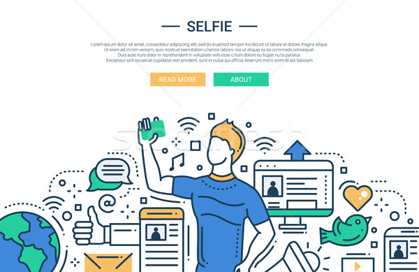 Selfie - line design website banner Stock photo © Decorwithme