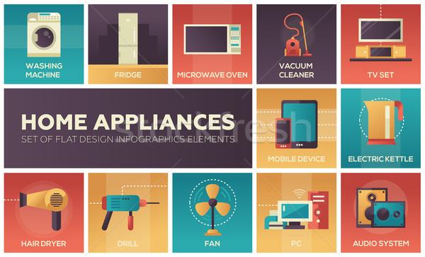 Home Appliances -flat design icons set Stock photo © Decorwithme