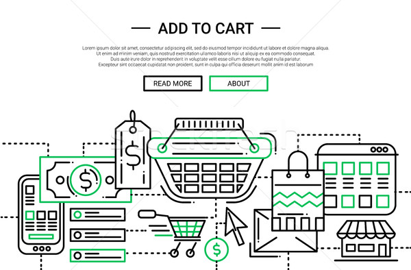 Add to Cart - line design website banner temlate Stock photo © Decorwithme