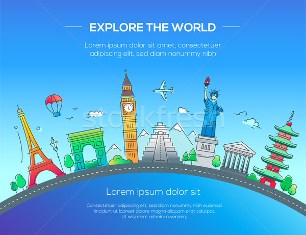Illustrazione design cartolina noto mondo punto di riferimento Foto d'archivio © Decorwithme