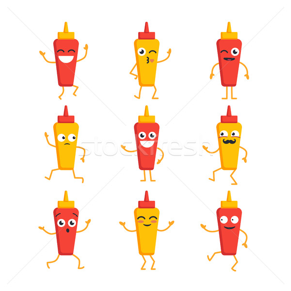 Ketchup and Mustard- vector set of mascot illustrations. Stock photo © Decorwithme