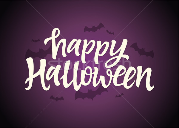 Happy Halloween - celebration card with hand drawn brush pen lettering Stock photo © Decorwithme