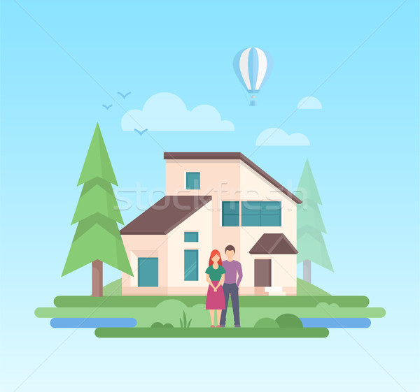 Country house - modern flat design style vector illustration Stock photo © Decorwithme