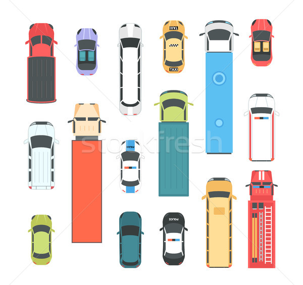 Vehicles - set of modern vector city elements Stock photo © Decorwithme