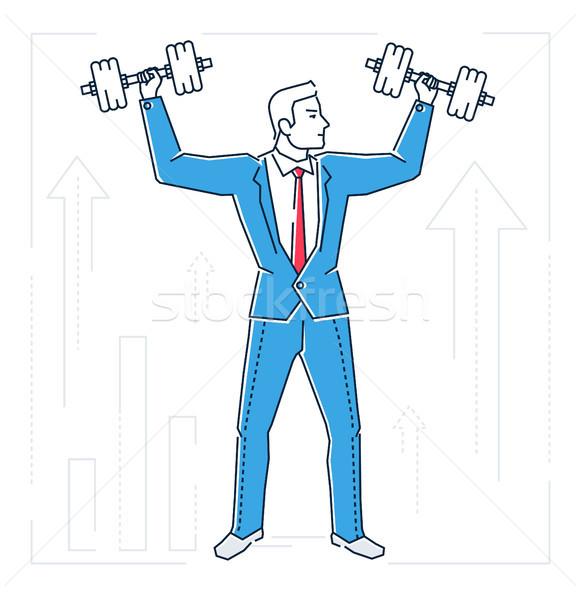 Businessman lifting bars - line design style isolated illustration Stock photo © Decorwithme