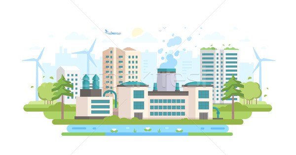 Eco-friendly industry - modern flat design style vector illustration Stock photo © Decorwithme