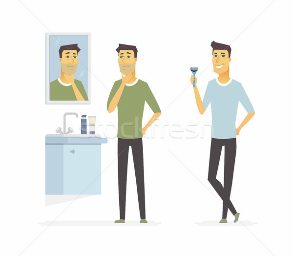 Man before and after shaving - cartoon people character isolated illustration Stock photo © Decorwithme