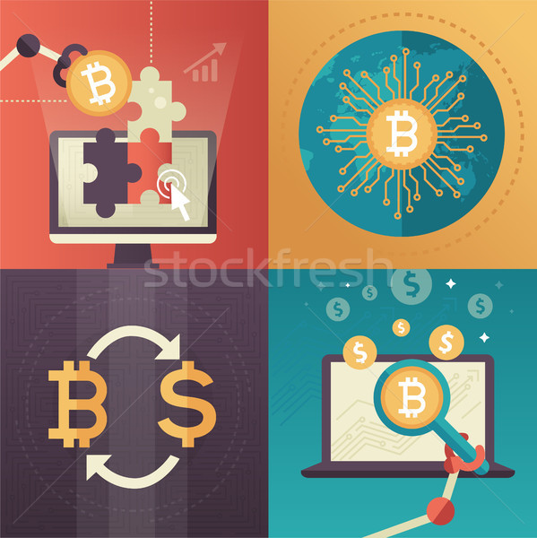 Stock photo: Cryptocurrency - set of colorful flat design style infographics elements