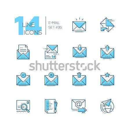 Email szett vonal terv stílus ikonok Stock fotó © Decorwithme