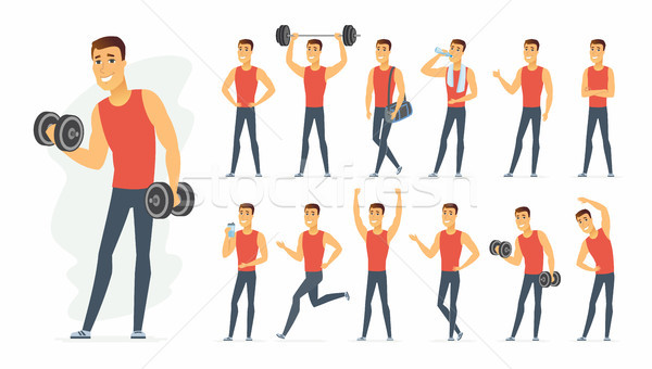 Sportsman - vector cartoon people character set Stock photo © Decorwithme