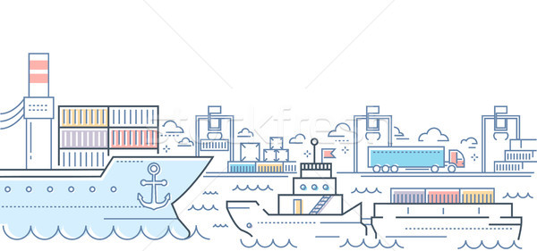 Port - modern line design style colorful illustration Stock photo © Decorwithme