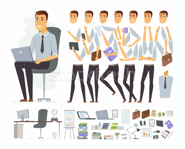 Businessman at work - vector cartoon people character constructor Stock photo © Decorwithme