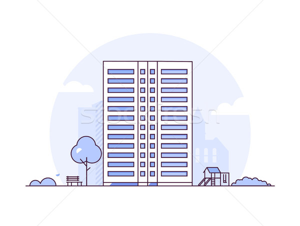 Urban landscape - modern thin line design style vector illustration Stock photo © Decorwithme