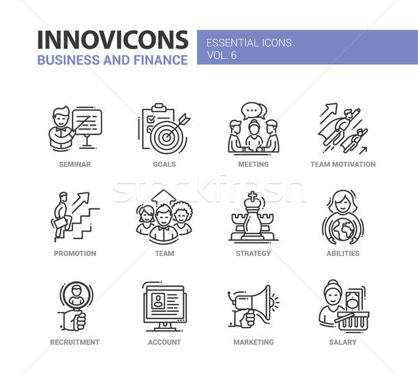 Business and fnance line design icons set Stock photo © Decorwithme