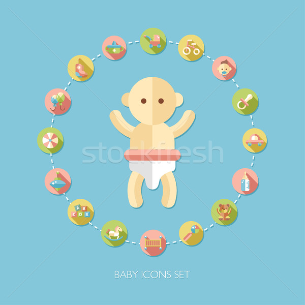 Set of flat design pastel cute baby icons Stock photo © Decorwithme