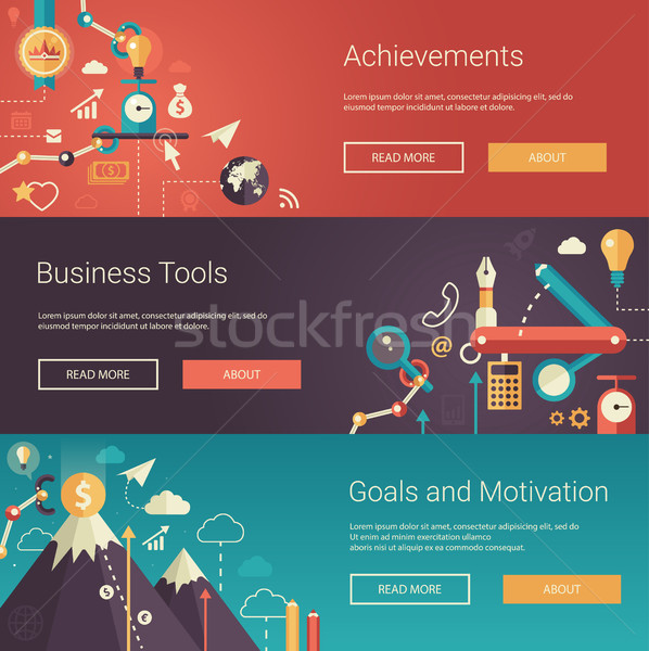 Set of modern flat design business banners, headers with icons  and infographics elements. Achieveme Stock photo © Decorwithme