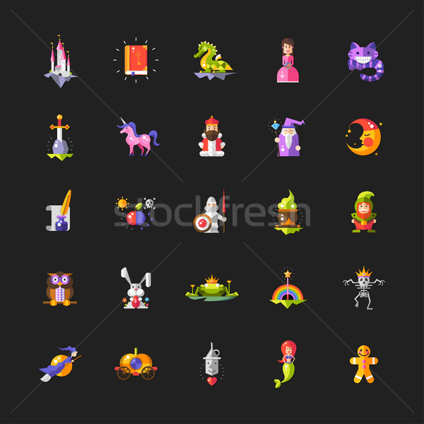 Illustration of set of fairy tales flat design magic icons and e Stock photo © Decorwithme