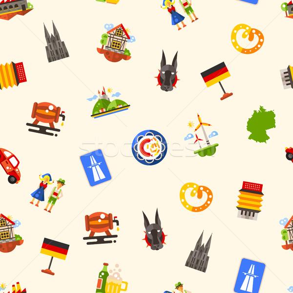 Alemanha viajar famoso símbolos vetor Foto stock © Decorwithme