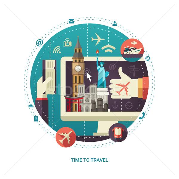 Projeto viajar mundo famoso exibir círculo Foto stock © Decorwithme