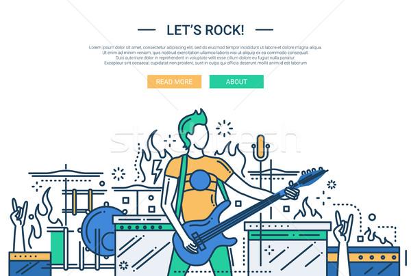 Lets rock - line design website banner Stock photo © Decorwithme