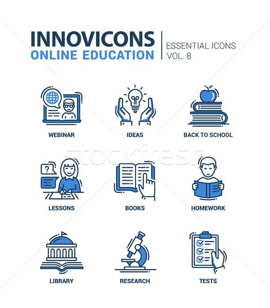 Foto stock: On-line · educação · linha · projeto · moderno