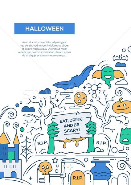 Halloween línea diseno folleto anunciante plantilla Foto stock © Decorwithme