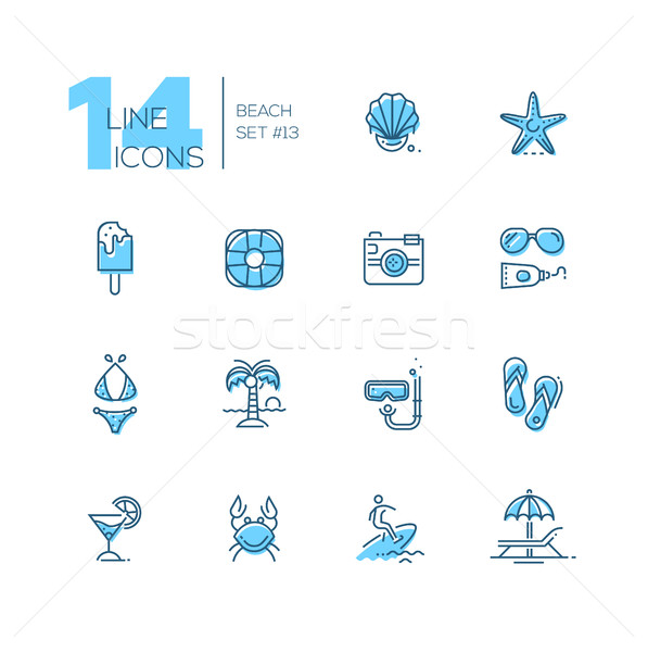 At the Beach - line icons set Stock photo © Decorwithme