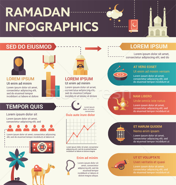 Ramadan - infographic flat design illustration with copyspace Stock photo © Decorwithme