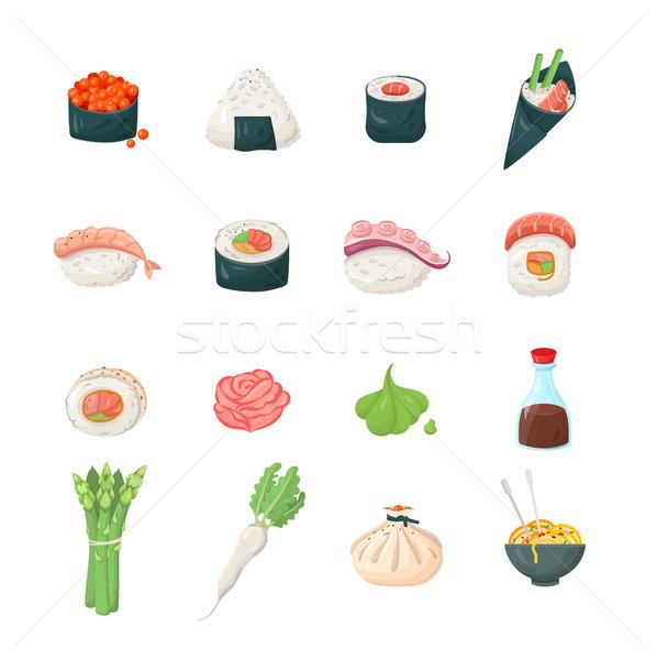 Foto d'archivio: Sushi · moderno · vettore · line · colore