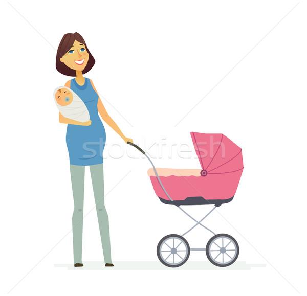 Familie gekleurd moderne illustratie vector Stockfoto © Decorwithme
