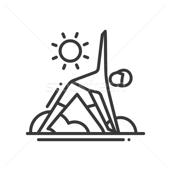 Yoga - modern vector single line icon Stock photo © Decorwithme
